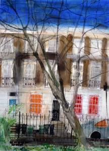 December-Morning,-Granville-Square,-London-PQRWS-70x50cm-watercolour-2014a