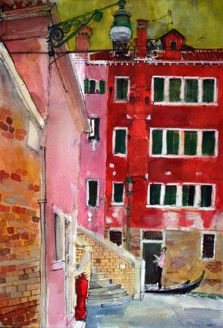 Gondolier, San Marco, Venice 2017 watercolour