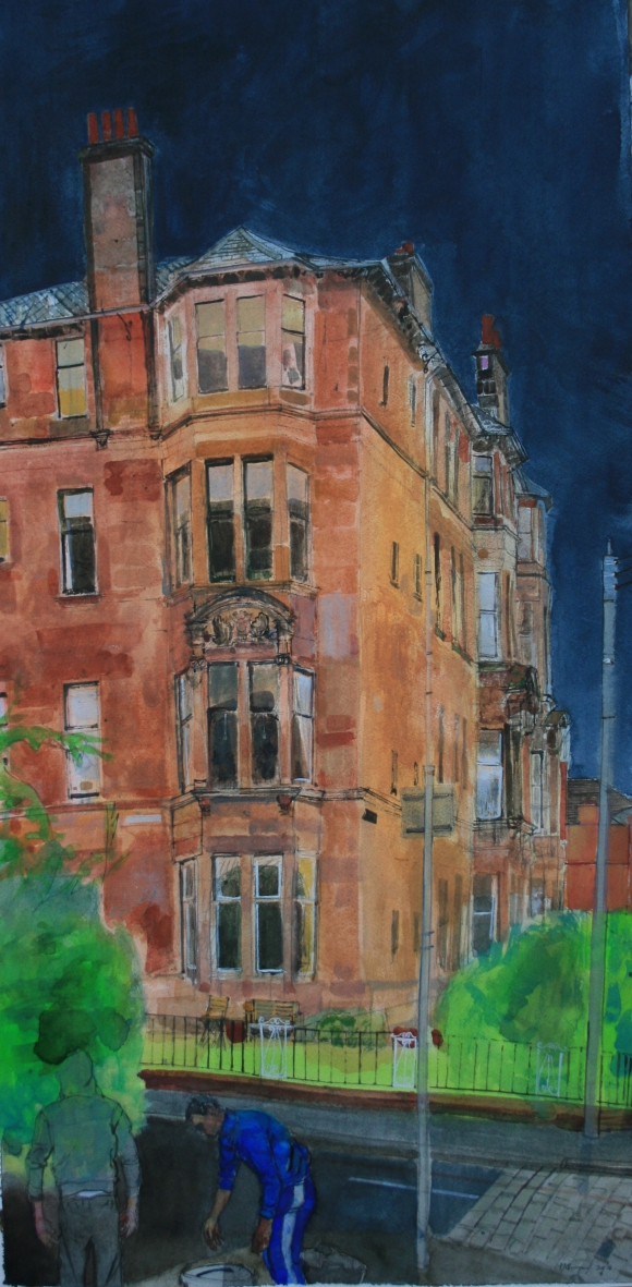 On Falkland Street Glasgow Watercolour on paper 102x50cm