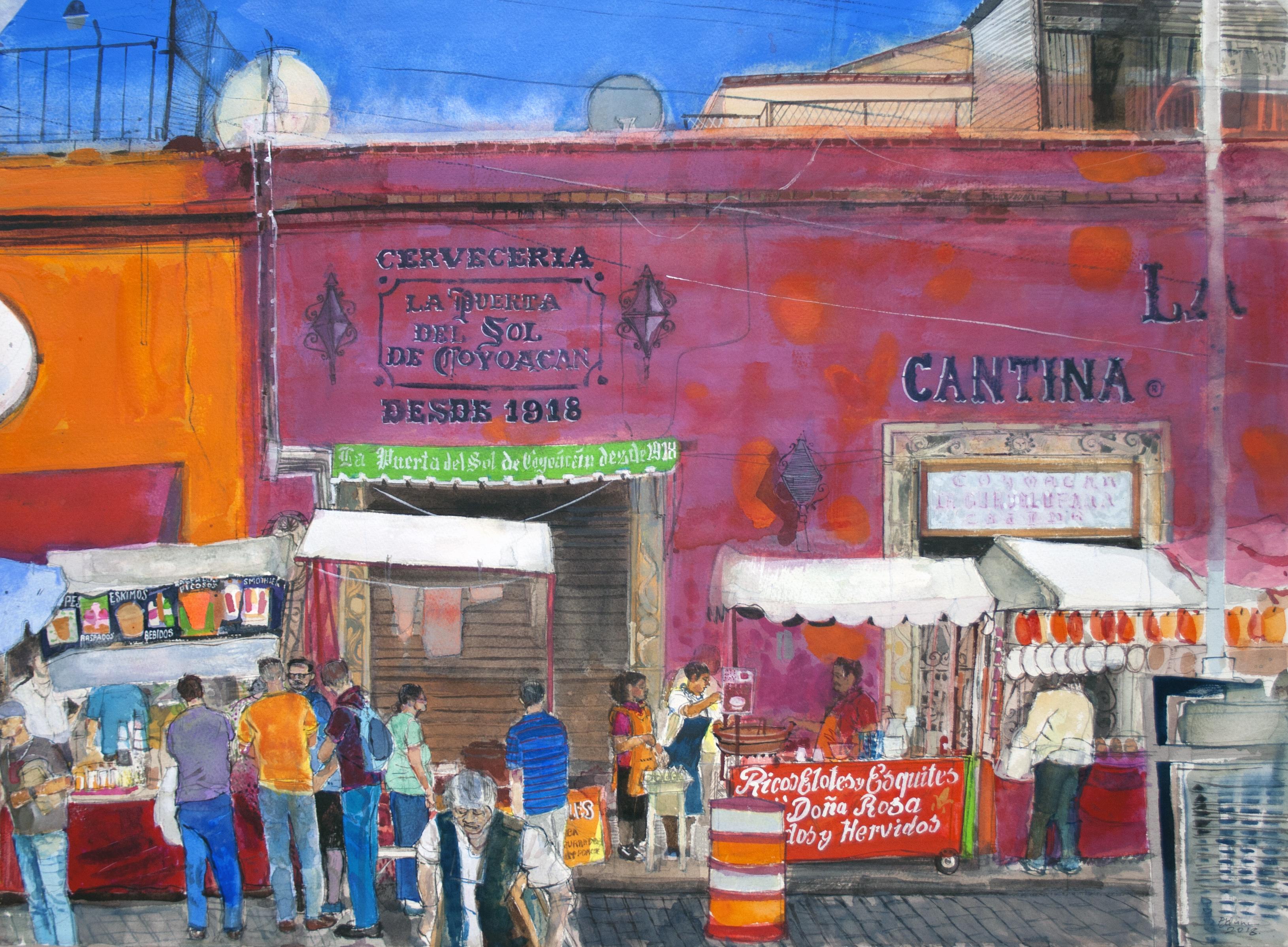 Calle Caballocalco Mexico City watercolour Peter Quinn RWS 55x76cm
