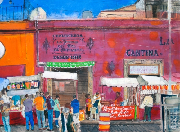 Calle Caballocalco Mexico City watercolour Peter Quinn RWS 55x76cm