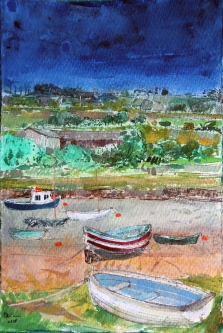 Rowing Boat Alnmouth Peter Quinn RWS watercolour 28x29cm £525