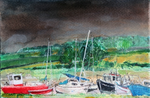 Summer Dark skies Alnmouth watercolour Peter Quinn RWS 185x280mm £525