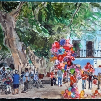 Balloons and Bubbles, Oaxaca, Mexico Watercolour on paper 28x38cm peter Quinn RWS
