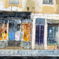 Haberdashery, Lisbon watercolour on paper 25x56cm Peter Quinn RWS