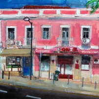 Largo das Fontaínhas, Lisbon, Portugal Watercolour on Paper 28.5x38 cm watercolour on paper Peter Quinn RWS