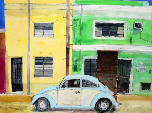 VW Beetle, Merida, Yucatan, Mexico watercolour on paper 51x69cm Peter Quinn RWS