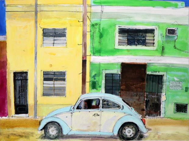 VW Beetle, Merida, Yucatan, Mexico watercolour on paper 51x69cm Peter Quinn RWS
